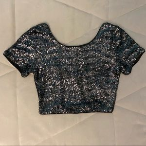 Forever 21 Sequined Crop Top Small